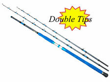 Double Tips Heavy Duty Deep Sea Trolling Boat Rods Lightweight Sensitive 35KG
