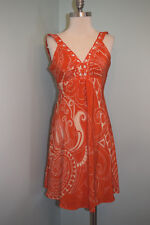 Beth Bowley Anthropologie Orange 100% Silk dress paisley boho 2 cocktail Party