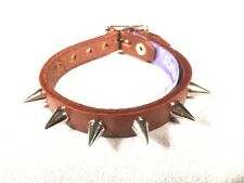 Brown Leather Small Spike Stud bracelet wristband wrist cuff Steam punk RATS BUM