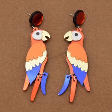 Colorful Parrot Pendant Earrings Acrylic Women Long Dangle Ear Stud Jewelry Gift