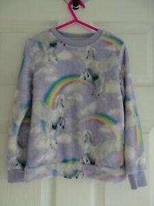 Girl's Soft Fleece Unicorn/Rainbows Pyjama/Lounge Top from F&F Age 5-6 Years