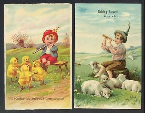 VINTAGE HAPPY EASTER - GREETING CARDS - 1908, 1910 - 2 CARDS