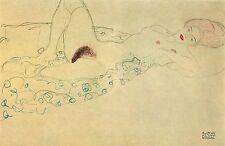 Gustav Klimt Drawings: Reclining Nude in Green Robe - Fine Art Print