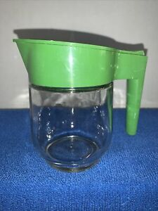"Creamer Vintage Gemco Mfg Clear Glass Green Top 5"" Cream"