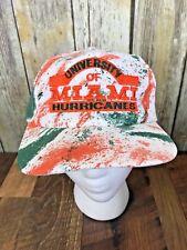 Vintage University MIAMI HURRICANES Snapback Hat Football Tie Dye Splatter 90's