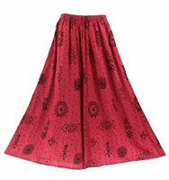 BeautyBatik Fuchsia Boho Women Palazzo Wide Leg Pants Trouser Plus Size 1X 2X