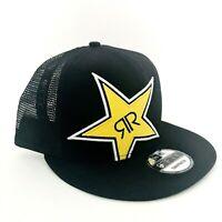 New Era 9Fifty Rock Star Energy Logo Snapback Trucker Cap Hat Black Yellow Mesh