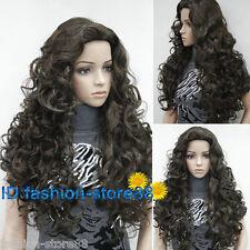 Ladies fashion Long Curly dark Brown Natural Hair Women's Wigs + wig cap