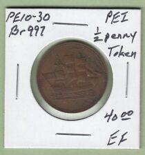 Prince Edward Island SHIPS COLONIES & COMMERCE 1/2 Penny Token  PEI10-30 - EF