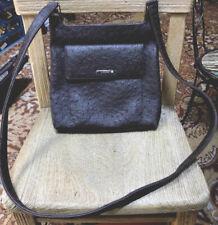 "Nine West Dark Brown Crossbody Shoulder Bag Purse Faux Leather Textured Lined 9"""