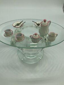 Dollhouse Miniature Bodo Hennig Pink & White Tea Set