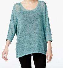 Alfani Women's Petite Hi-Low Sheer Knit Sweater, Modern Aqua, Small, PS