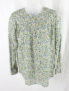 J Crew Liberty Art Fabrics White Green Yellow Blue Floral 1/2 Button Shirt Top 4