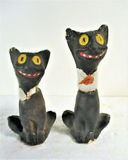 ANTIQUE HALLOWEEN UNCOMMON PAIR PAPER MACHE/COMPO BLACK CAT CANDY CONTAINERS