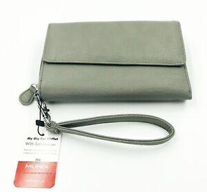 New Mundi My Big Fat Wallet Grey Zip Around Clutch Wristlet Organizer