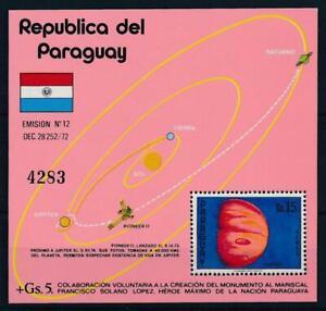 [105593] Paraguay 1975 Space travel weltraum Pioneer 11 Souvenir Sheet MNH