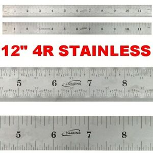 "12"" Ruler STAINLESS STEEL 4R Rule Scale Machinist Engineer 1/8 1/16 1/32 1/64"