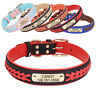 Custom Braided Leather Padded Dog Collars Personalised Pet Name ID Tag 5 Colours
