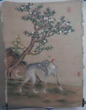 Qing dynasty style Chinese painting: Hand painted! Gray Dog Draw! 14042864