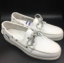 Sebago Men's Docksides Leather Boat Shoe White 8.5 W US