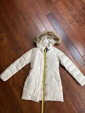 Women's North Face Small Long Down Coat Parka With Fur Hood Cream/white Color
