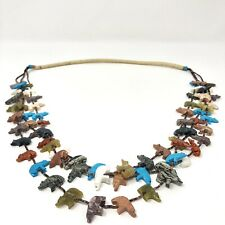 Zuni Bear Fetish Necklace Turquoise Carved Three Strands VTG 32in Colorful