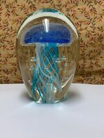 Murano Design Controlled Bubble Blue Jellyfish Art Glass Paperweight