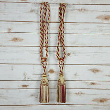 """2 Vintage Gold Burgundy Braided Rope Tassels Drapery Curtain Tie Backs 24"""""""