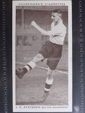 No.3 J.E. ATKINSON - BOLTON W. Association Footballers 2nd Series CHURCHMAN 1939