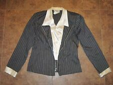 DBY Business Suit Jacket Gray Pinstriped size 11 Faux Layered Look Collar Cuffs
