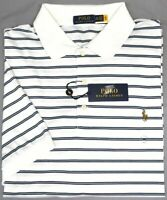 NEW $110 Polo Ralph Lauren Mens Short Sleeve White Striped Shirt 100% Cotton NWT