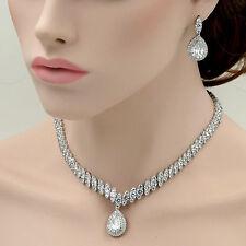 18K White Gold GP Clear Zirconia CZ Necklace Pendant Earrings Jewelry Set 06696