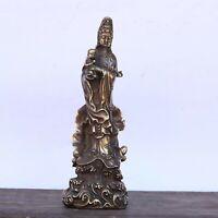 Collect decor fengshui copper bronze Kwan-yin Guanyin SongZi Statue figurines