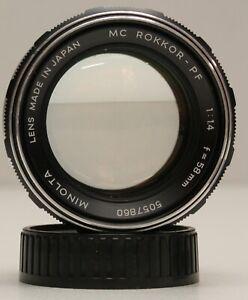 Minolta MC Rokkor PF 58mm f/1.4 MD Mount Lens