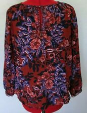 REBECCA TAYLOR SILK BLOUSE FLORAL KEY HOLE TIE BURNT RED FOREST FLAME SIZE 2 *J