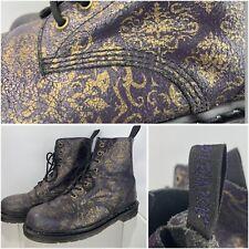 Dr Martens Pascal BQ Baroque Purple Gold Cristal Boots DMs Docs UK Sz 9 Leather