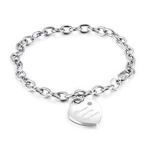 Edelstahl Damen Armband mit Herz Anhänger Bettelarmband Armkette Silber Gravur