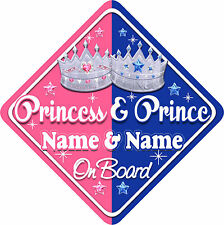 Personalised Princess & Prince Child/Baby on Board Car Sign New Blue~Pink !