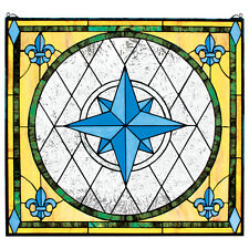 Winds Compass Rose & Fleur de Lis Hand Crafted Stained Glass Cabochons Window