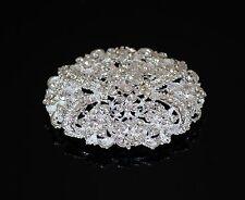 Oval Bridal Wedding Brooch with Swarovski Crystals