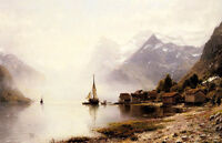 Dream-art oil painting Norwegian Fjord with big sail boats hand painted canvas
