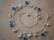 GREEK EVIL EYE HEART SILVER TONE ANKLET BLUE HAMSA NAZAR BEADS bracelet