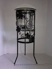 Partylite Seville Grape Leaf Wrought Iron Glass 3 Wick Candle Holder Retired