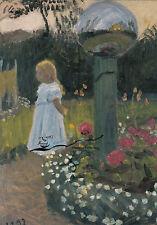 Kunstkarte: Otto Modersohn - Elsbeth im Garten
