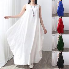 Women Crew Neck Summer Sleeveless Loose Long Maxi Shirt Dress Baggy Kaftan Robe