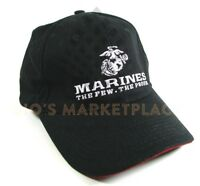 Marines Embroidered Black ball cap hat With Logo and adjustable buckle