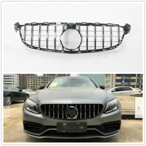 C63 GT R AMG Front Grille Grill for Mercedes Benz W205 2015-18 Silver w/ camera