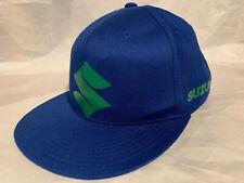 Suzuki Cap Hat Fitted Flexfit Flex Fit L/XL Blue Green Flat Bill Racing Moto EUC