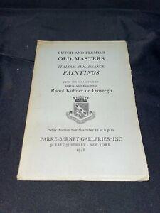 Dutch & Flemish Old Masters Paintings ++ 1948 Parke-Bernet Art Auction Catalog