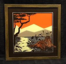 Vintage 1977 Intercraft Mirror Colored Glass Wood Frame Picture Lion Orange Rare